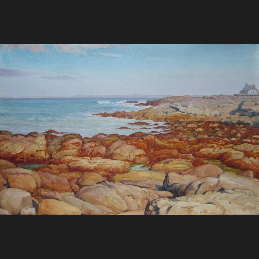 Paul lemoine maison sur la c te rocheuse bretagne aquarelle n 7 galerie cerca trova - Ma maison sur la cote ...