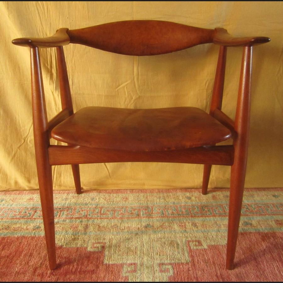 Hans wegner fauteuil en teck et cuir ch 34 1959 - Fauteuil teck et cuir ...