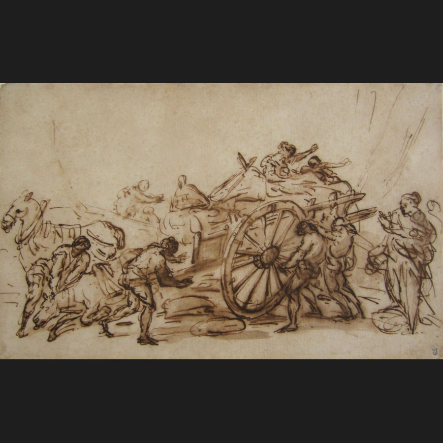 Attribu joseph antoine david de marseille charrette - Charrette dessin ...