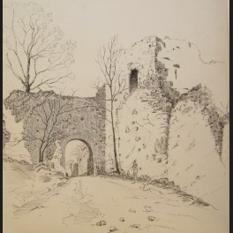 georges bellanger porte et mur en ruine provins dessin. Black Bedroom Furniture Sets. Home Design Ideas