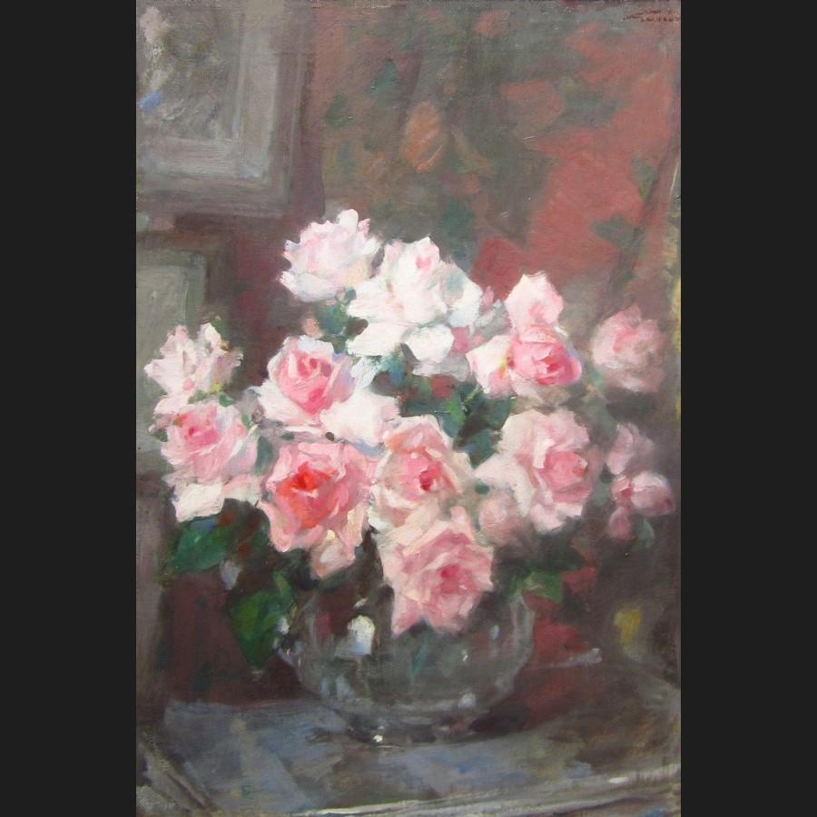 Bien connu Jules Alexandre GRUN, Nature morte au bouquet de roses, tableau  YN19
